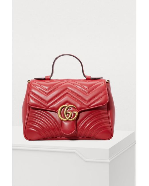 Gucci - Red GG Marmont Matelassé Top Handle Bag - Lyst