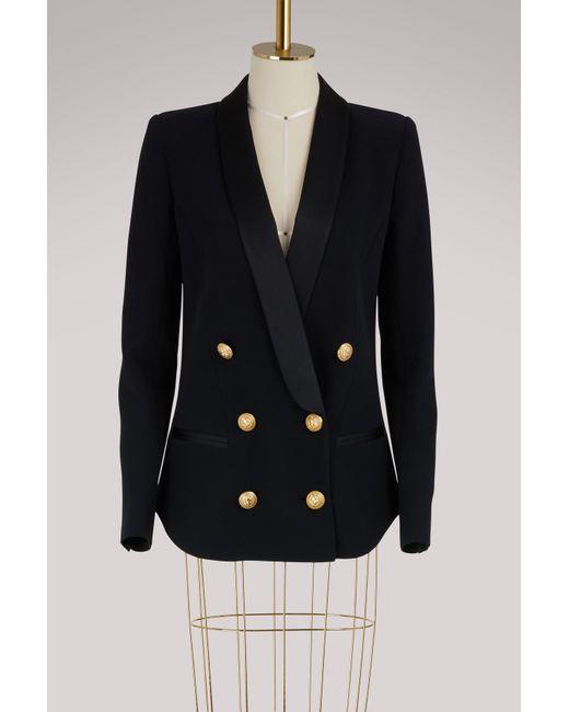 Balmain - Blue Belted Jacket - Lyst