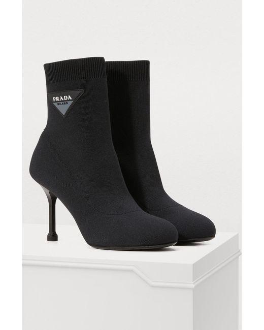 b50419a12f63 ... Prada - Black Knit Ankle Boots - Lyst ...