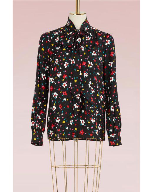 Marc Jacobs | Black Painted Flower Silk Jacquard Tie Neck Long Sleeve Blouse | Lyst