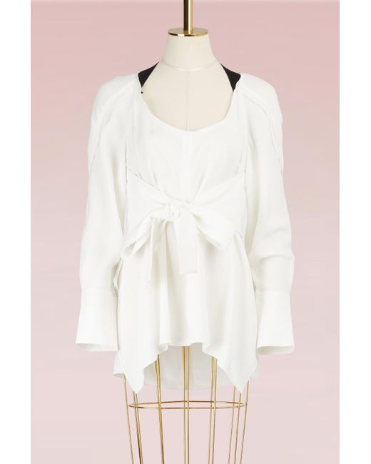 Proenza Schouler - White Crepe Waisted Top - Lyst