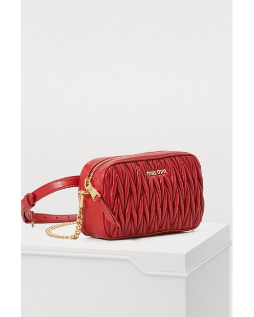 795a594713f4 ... Miu Miu - Red Quilted Cross-body Bag - Lyst ...