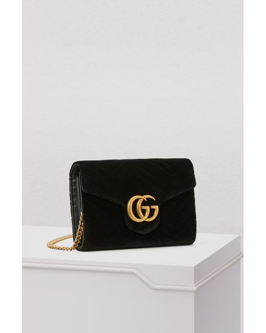 8b6b9154c8c8 ... Gucci - Black GG Marmont Velvet Mini Bag - Lyst ...