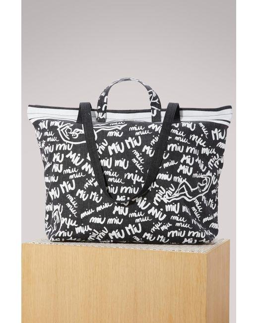 Miu Miu - Black Denim Shopper Bag - Lyst