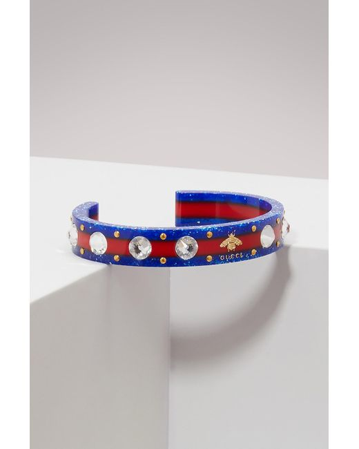 Gucci - Blue Web Cuff With Crystals - Lyst