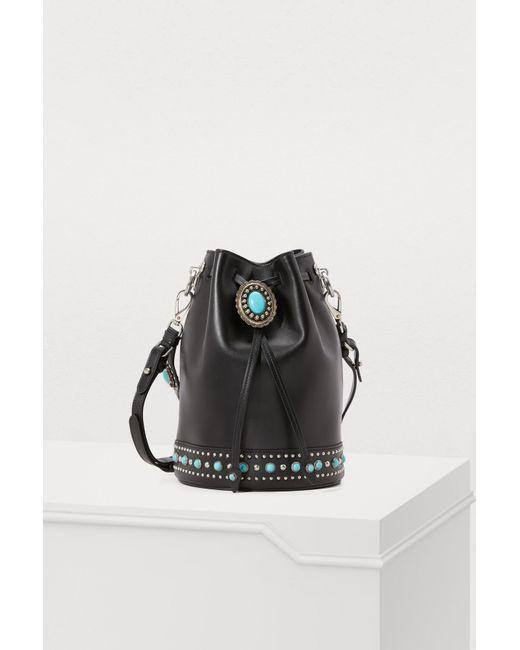 4648094ef1 Prada - Black Folk Bucket Bag - Lyst ...