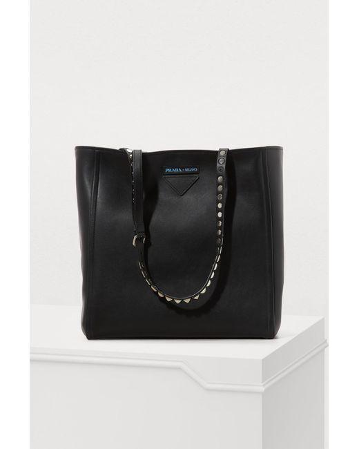 d09ba3da750e Prada - Black Studded Tote Bag - Lyst ...