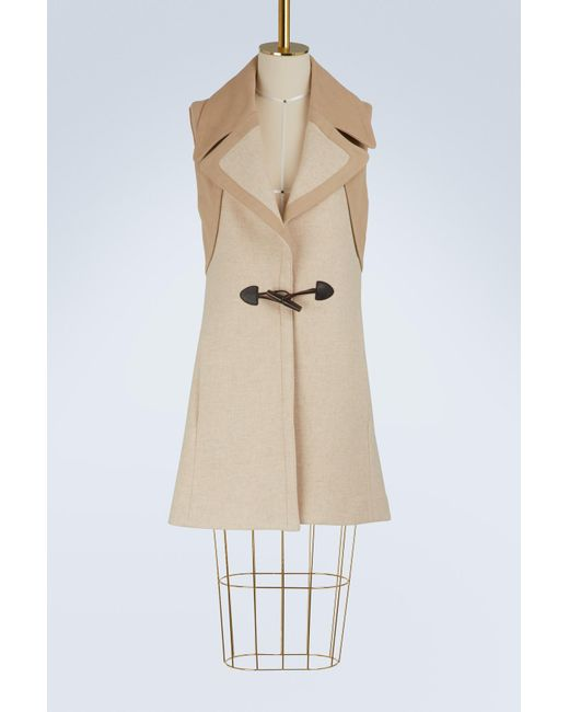 See By Chloé - Natural Wool Sleeveless Duffle Coat - Lyst