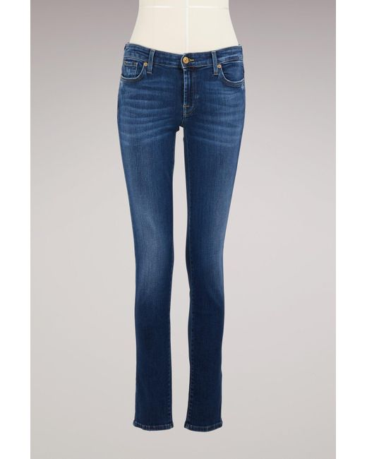 7 For All Mankind | Blue Cotton Piper Jean | Lyst