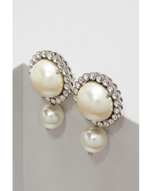 Miu Miu | Metallic Pearl Earrings | Lyst