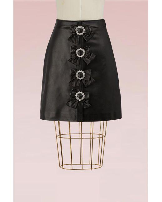 Gucci | Black Plongè Leather Skirt | Lyst
