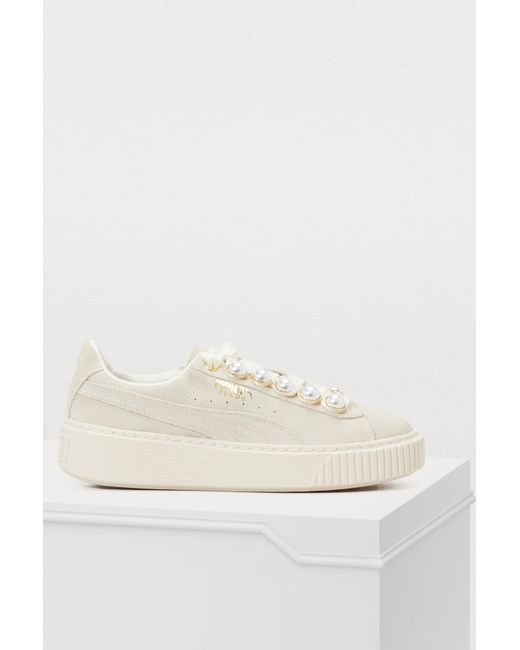 PUMA - White Platform Bling Pearl Sneakers - Lyst ... 2a3ad10e861a