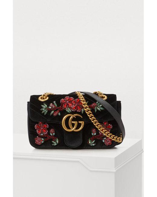b754ca9ea1a Gucci - Multicolor GG Marmont Velvet Mini Bag - Lyst ...