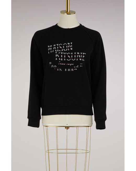 Maison Kitsuné - Black Cotton Palais Royal Sweater - Lyst