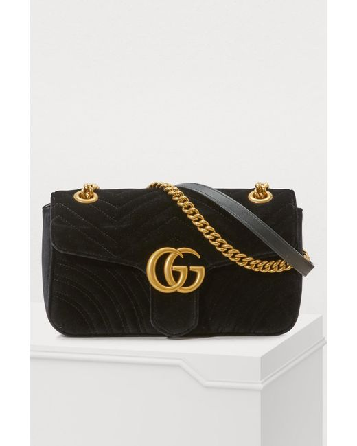 a2ecffa357c Gucci - Black GG Marmont Velvet Shoulder Bag - Lyst ...