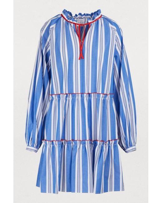 45daf1e8 Stella Jean - Blue Short Cotton Dress - Lyst ...