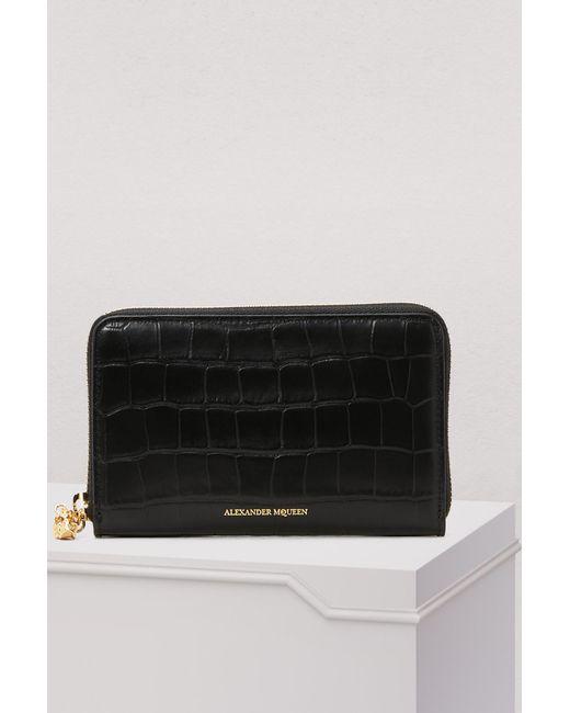 Alexander McQueen - Black Zipped Wallet - Lyst