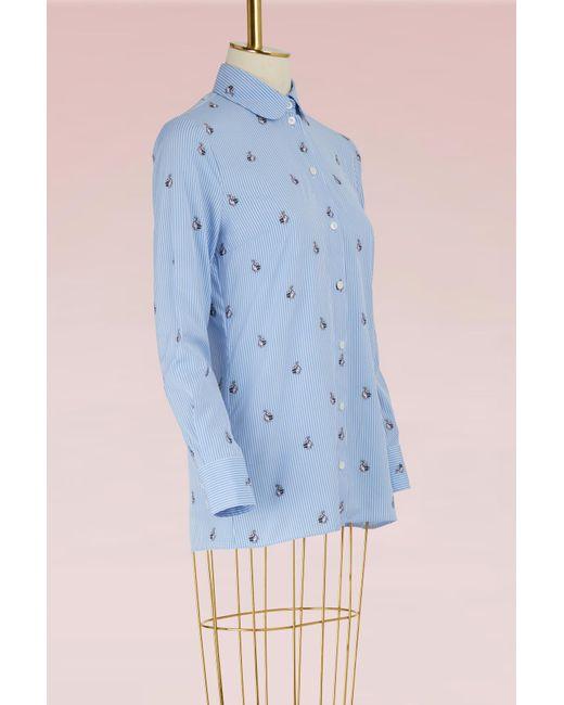 Gucci | Blue Rabbit Fil Coupé Shirt | Lyst