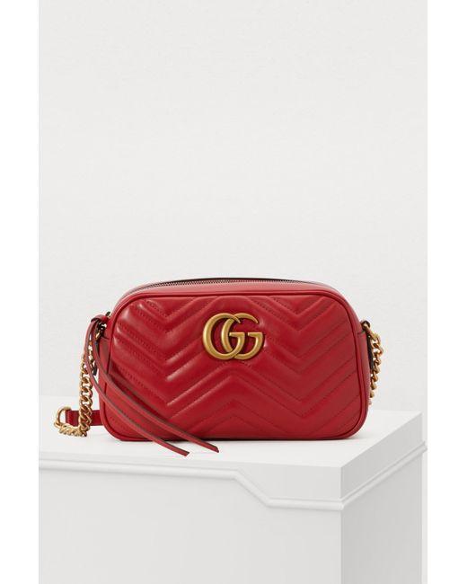 bf134edb326a Gucci - Red Marmont GG Crossbody Bag - Lyst ...