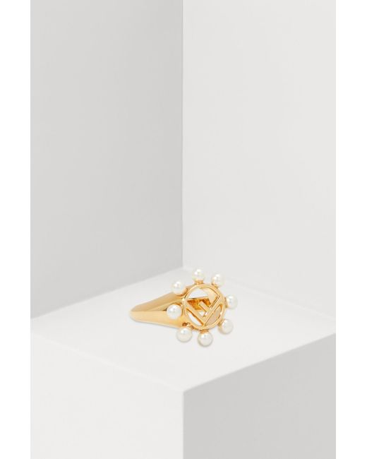 Fendi - Metallic Ring With Pearls - Lyst