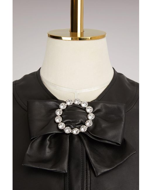 Gucci | Black Plongé Leather Peplum Jacket | Lyst