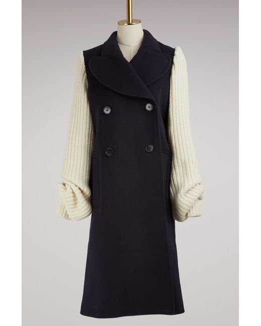 J.W. Anderson - Blue Wool Coat With Knit Sleeves - Lyst