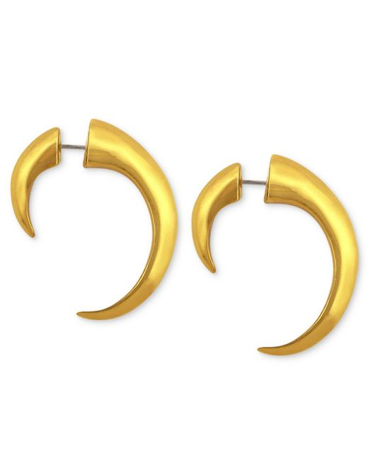 Vince Camuto | Metallic Gold-tone Horn Tunnel Front-back Earrings | Lyst