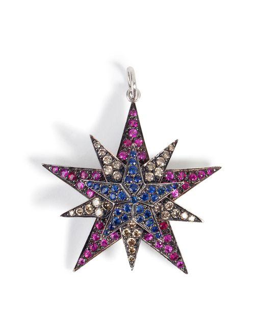 Ileana Makri | Metallic Silver/18k Gold Pendant With Rubies, Diamonds, Sapphires - Multicolor | Lyst