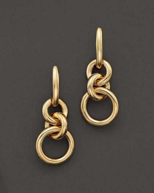 Roberto Coin   Metallic 18k Yellow Gold Three Circle Drop Earrings   Lyst