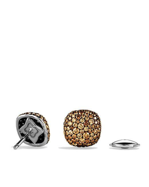 David Yurman | Brown Pavé Earrings With Cognac Diamonds In 18k White Gold | Lyst