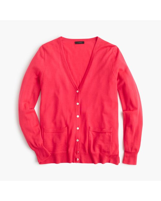 J.Crew | Red Classic Merino Wool Long Cardigan Sweater | Lyst