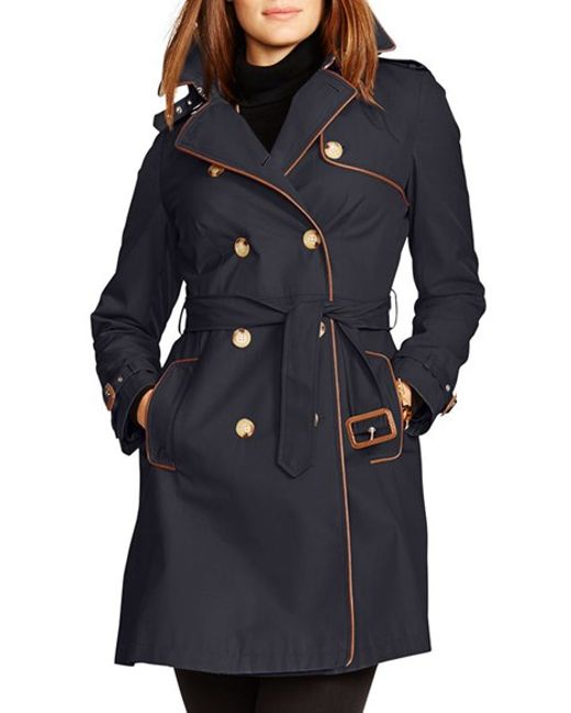 Lauren By Ralph Lauren Faux Leather Trim Trench Coat In