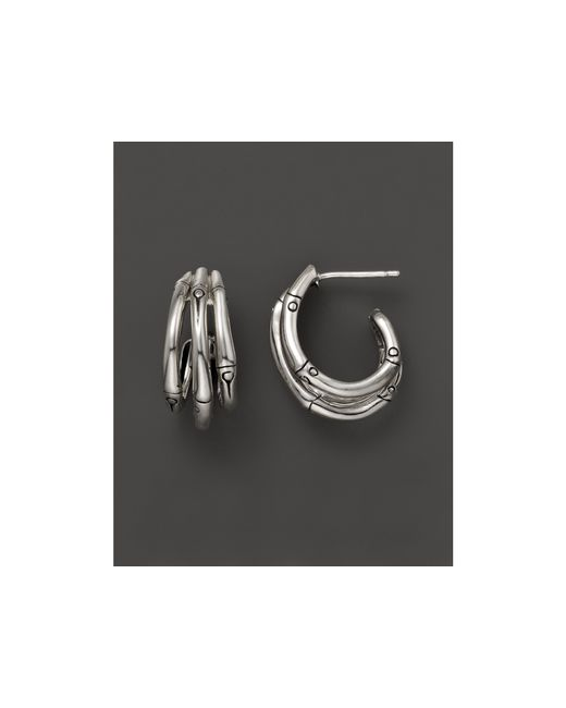 John Hardy   Metallic Bamboo Silver Small J Hoop Earrings   Lyst