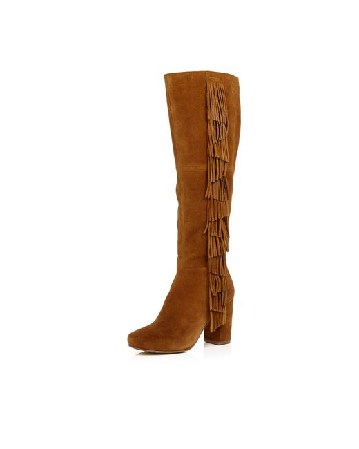 river island suede fringed knee high heeled boots in
