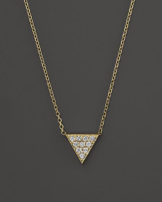 "KC Designs | Metallic Diamond Triangle Pendant Necklace In 14k Yellow Gold, 16"" | Lyst"