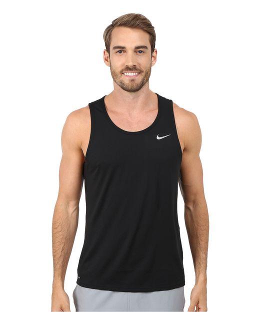 Nike | Black Dri-fit™ Contour Running Singlet for Men | Lyst