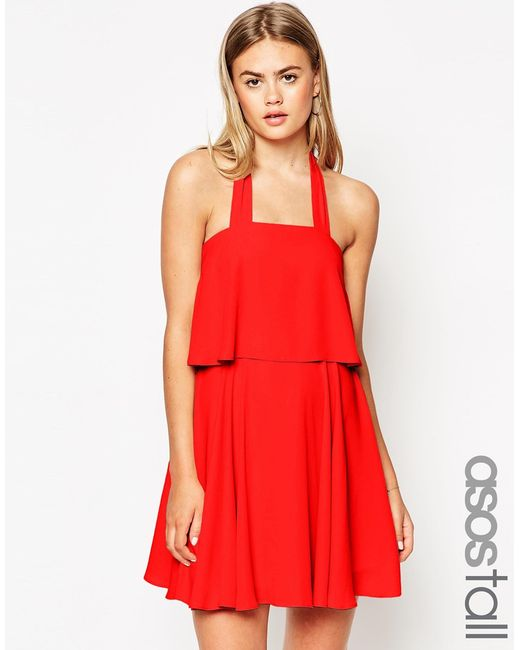 ASOS | Pink Bandeau Crop Top Skater Dress With Wide Straps | Lyst
