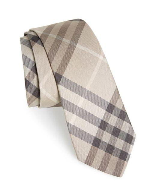 burberry manston check silk tie in beige for