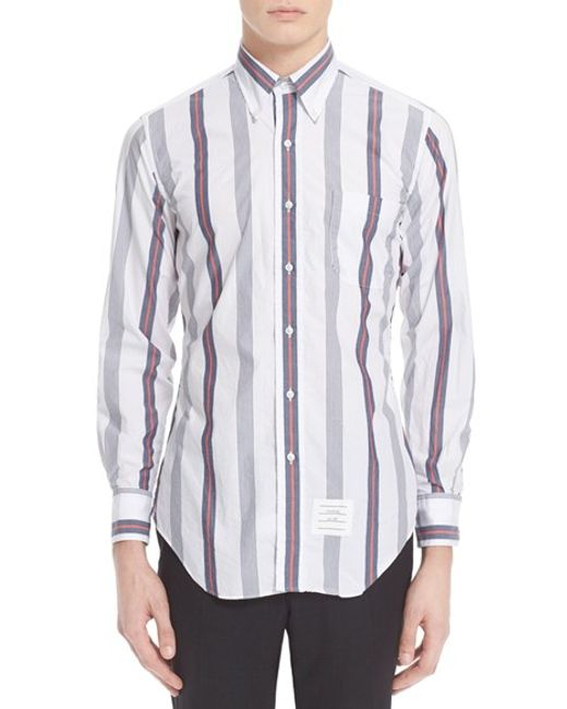 Thom browne extra trim fit stripe poplin shirt in for Thom browne white shirt