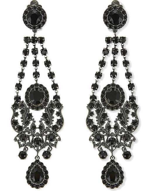 Red Givenchy Chandelier Earrings: Givenchy Crystal Chandelier Clip On Earrings In Black