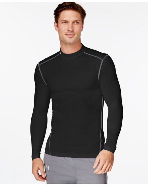 Under Armour | Black Men's Coldgear Mock Neck Long-sleeve T-shirt for Men | Lyst