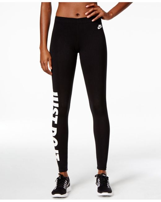 nike just do it dri fit leggings in black black white lyst. Black Bedroom Furniture Sets. Home Design Ideas