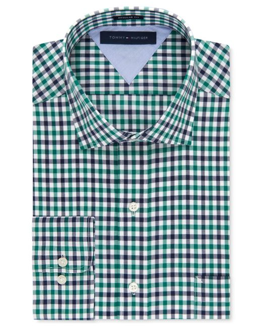 Tommy hilfiger green and blue multi gingham dress shirt in for Tommy hilfiger gingham dress shirt