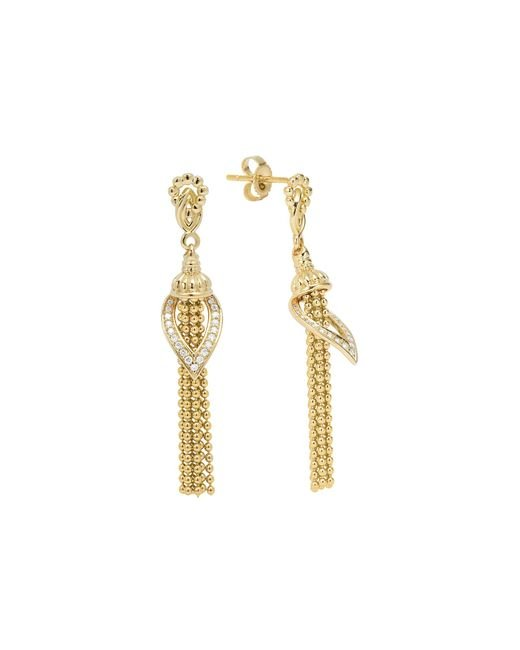 Lagos | Metallic 18k Gold Diamond Tassel Earrings | Lyst