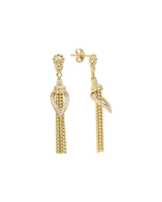 Lagos | Metallic Caviar Flame Tassel Earrings | Lyst