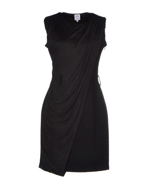Halston | Black Short Dress | Lyst