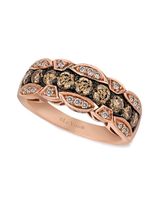 Le Vian   Brown Chocolate And White Diamond Band (1-1/8 Ct. T.w.) In 14k Rose Gold   Lyst