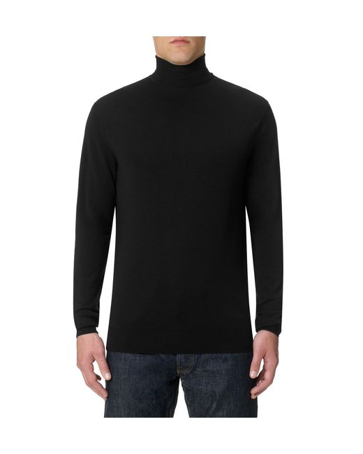 Sunspel | Black Men's Fine Merino Roll Neck Jumper for Men | Lyst