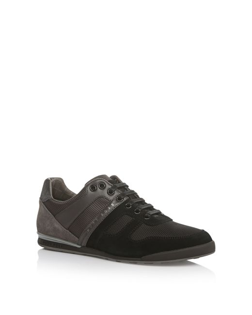BOSS Green | Gray 'akeen Clean' | Suede Nylon Blend Calfskin Sneakers for Men | Lyst