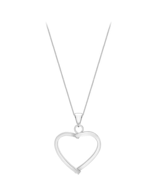 Ib&b | 9ct White Gold Mini Square Tube Heart Pendant | Lyst